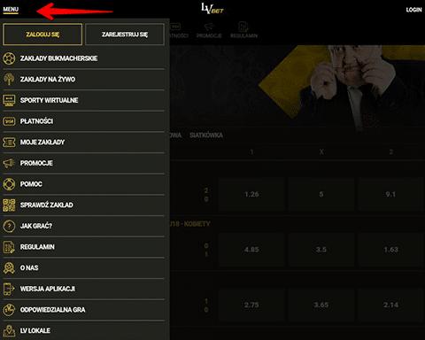 aplikacje bukmacherskie lvbet menu