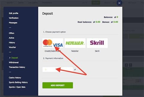 Wybierz metodę płatności i kwotę depozytu Betrally