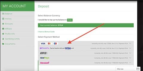 Wybierz metodę płatności w BitStarz