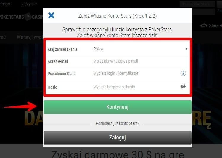 Rejestracja w PokerStars