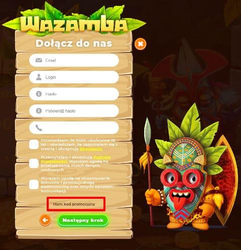 Wazamba_rejestracja
