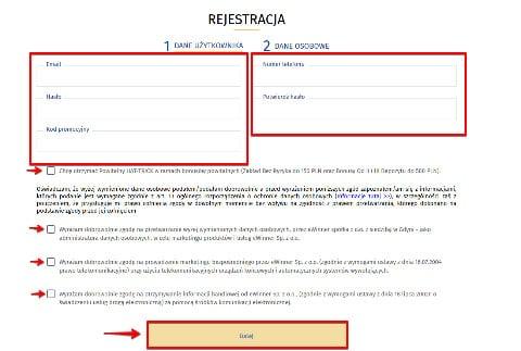 eWINNER rejestracja konta