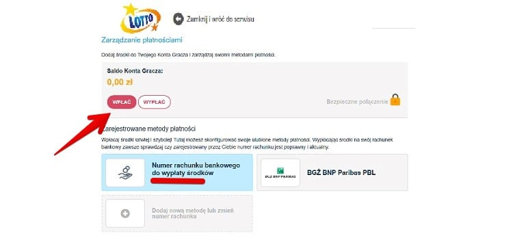 wplac depozyt na gry.lotto.pl
