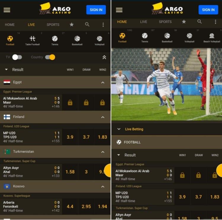 ArgoCasino Sport mobile