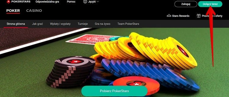 rejestracja w PokerStars Casino