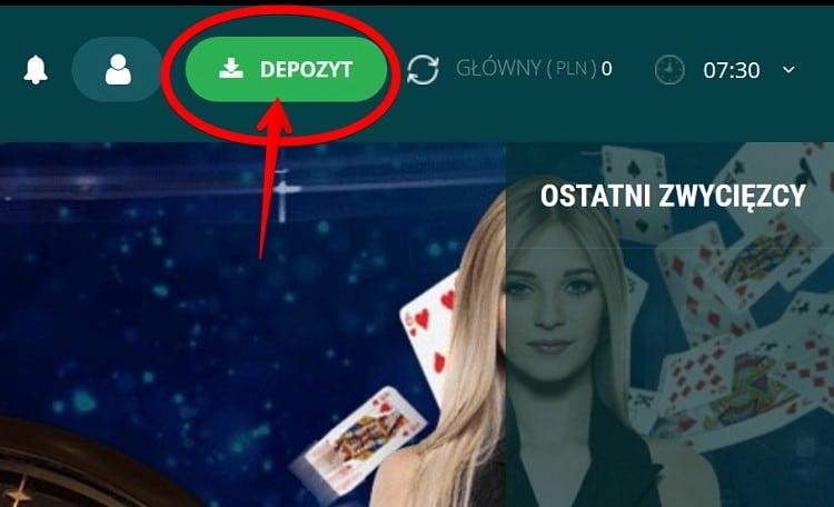 22Bet Casino wplata krok 1