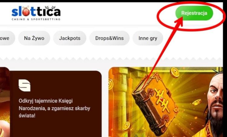 rejestracja w Slottica krok 1