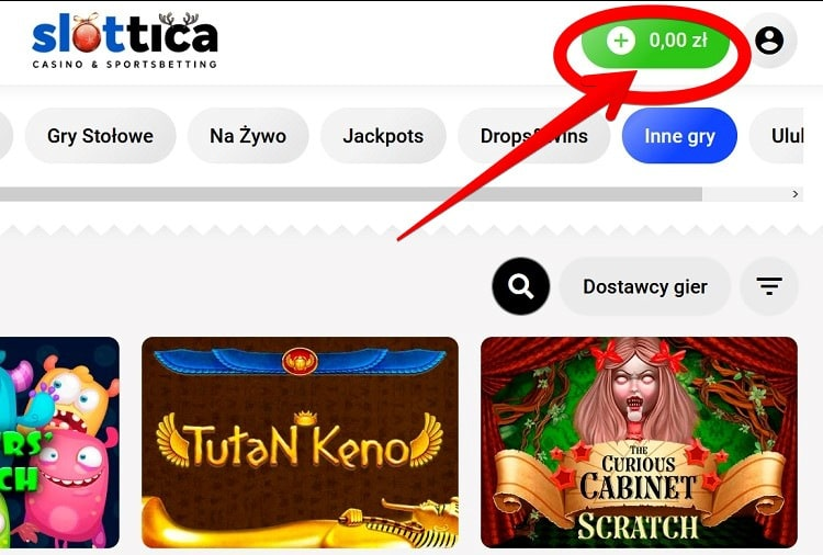 Wpłata depozytu w Slottica krok 1