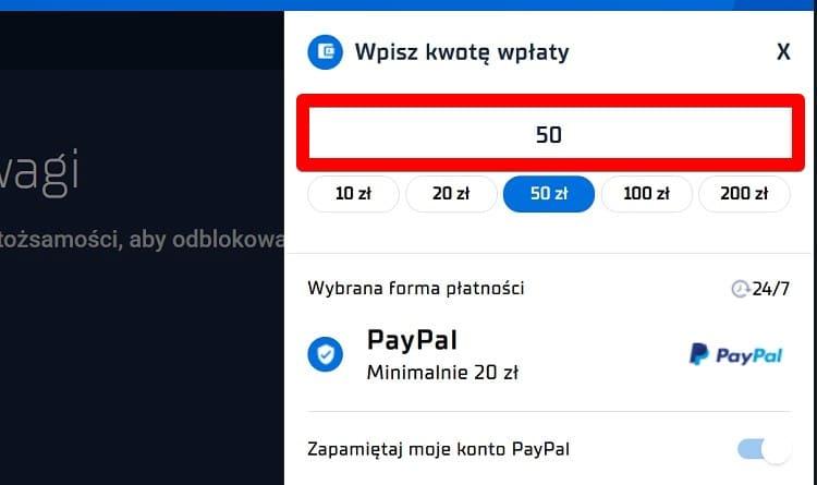 Krok 2 wpłaty PayPal