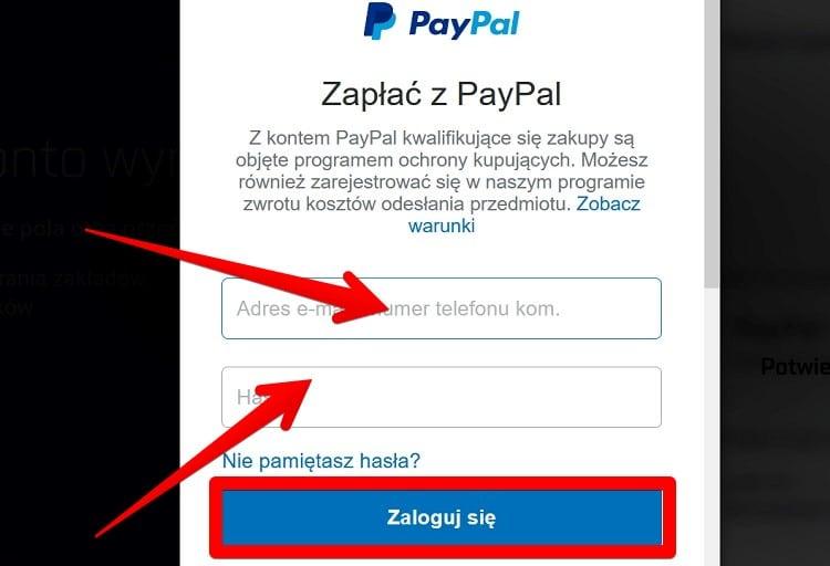 Krok 3 wpłaty PayPal