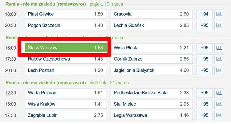 Śląsk Wrocław-Wisła Płock 1 DNB